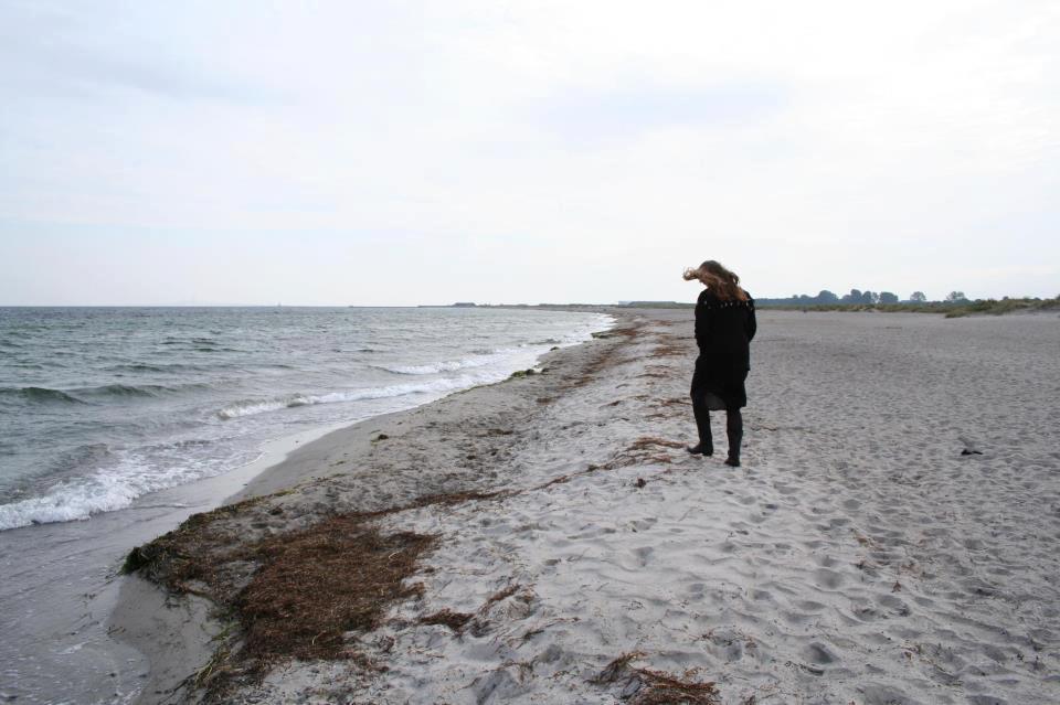 grey på strandtur